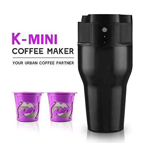 i Cafilas Travel Mini Coffee Maker Portable Espresso Maker Compatible with K pods Automatic Coffee Maker 500ML Stainless Steel Brewer Cup with USB cable