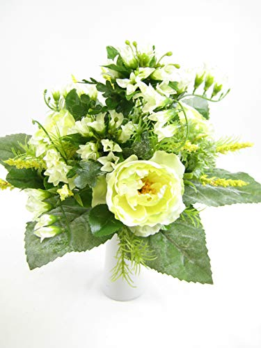 Kunstblumen Hahnenfuß, Strauß mit Freesien Blumenstrauß, Rosen-Muster, aus GT Decorations cremefarben