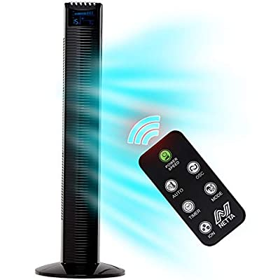 NETTA Black Oscillating 36 INCH Portable Tower fan, 3 Speed Settings With 8 Hours Timer Function And Remote Control - 60W Motor.