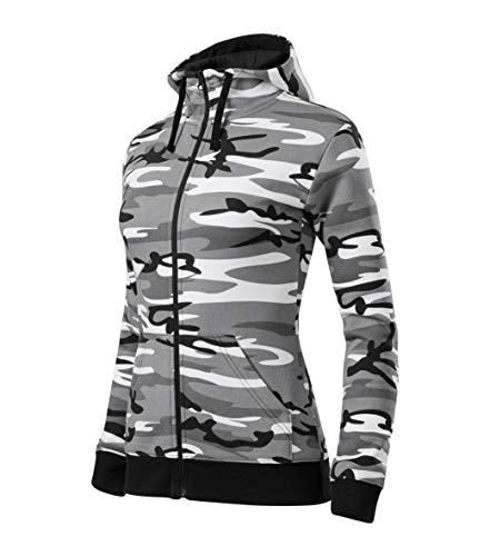 Malfini Camo Zipper Damen Sweatshirt mit Reißverschluss, für Sport und Freizeit, camouflage grau M