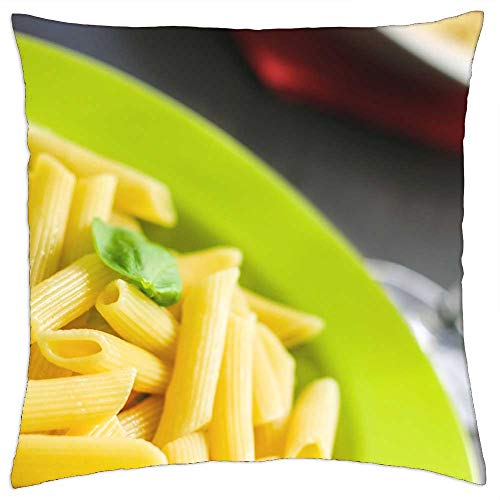 LESGAULEST Throw Pillow Cover (24x24 inch) - Rigatoni Pasta Noodles Food Meal Cuisine Cooked