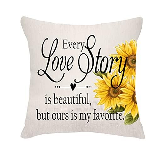 VEEMIZO Fundas de cojín para el día de San Valentín, bodas, aniversarios, regalos para novios, novias, fundas de almohada para cada historia de amor es hermosa, pero nuestra es mi favorita