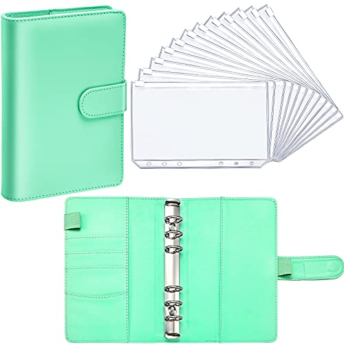 PU Leather Notebook Binder Budget Planner Binder Cover with 12 Pieces Binder Pocket Personal Cash Budget Envelopes System 6 Hole Binder Zipper Folder (Green Cover with Clear Sheet,A6)