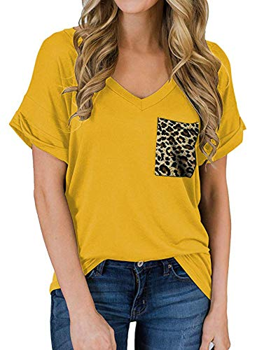 Camiseta con Bolsillo en el Cuello en V Rizado Manga Corta Suelta Top Verano Ropa de Mujer