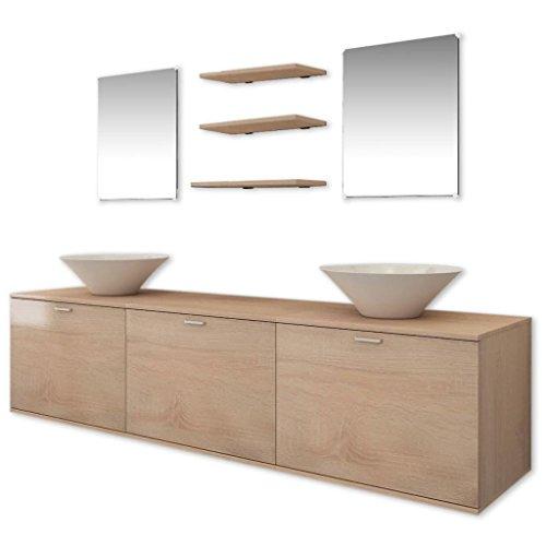 vidaXL Set 8 Mobili da bagno armadietti specchio lavabo lavandino elegante beige