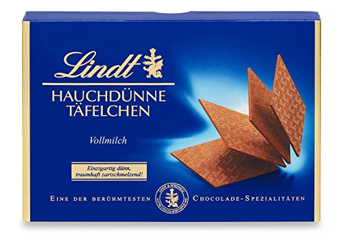 Lindt Hauchdünne Vollmilch Schokoladen Täfelchen | 125 g | Alpenvollmilch-Schokolade zum Genießen