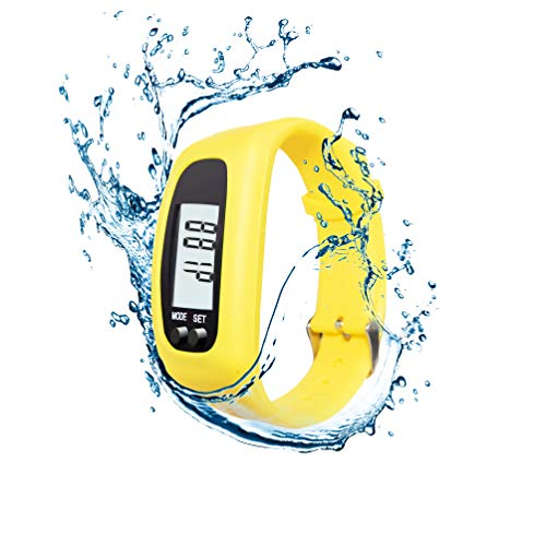 AXELENS Pulsera Cuenta Pasos Podómetro Reloj para Fitness Caminar Correr Gimnasio Hombres Mujeres Niños Calculadora de calorías Distancia y Tiempo de Caminata, Impermeable - Amarillo