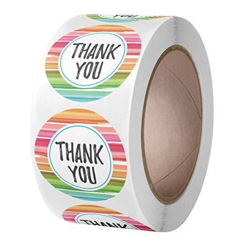 R1vceixowwi 500 pegatinas multicolor de agradecimiento hechas a mano, pegatinas redondas para regalos, manualidades, sobres, dulces, galletas, 1 rollo