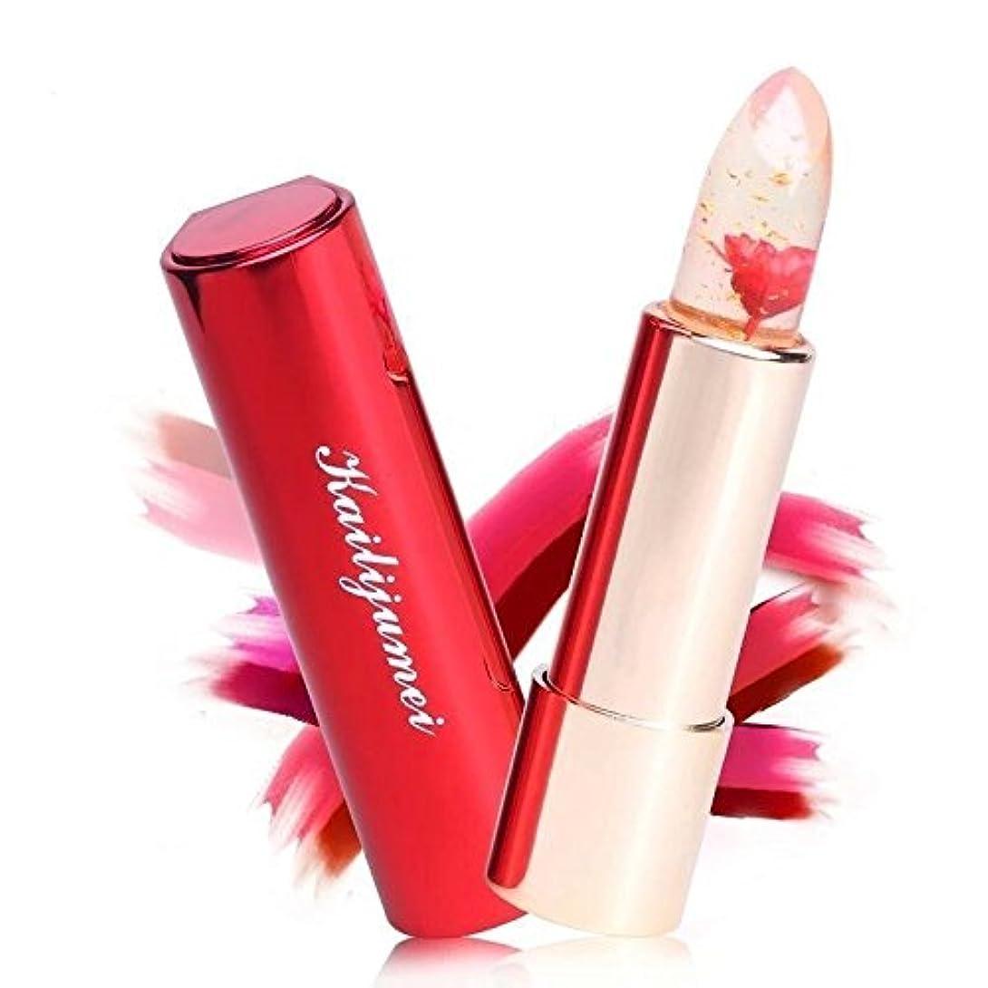 女将エネルギー巨大なKailijumei bright surplus天然オイル入り 唇の温度で色が変化するリップ 口紅 カイリジュメイ 恋する唇 選ばれる唇 お花 4種類 (レッド(FLAME RED))