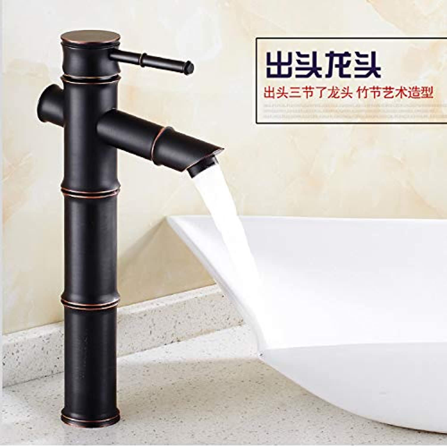 Bathroom Sink Basin Lever Mixer Tap Face Basin Faucet Copper Cold Hot Water Bamboo Knot Face Basin Faucet Black Ancient Face Basin Faucet