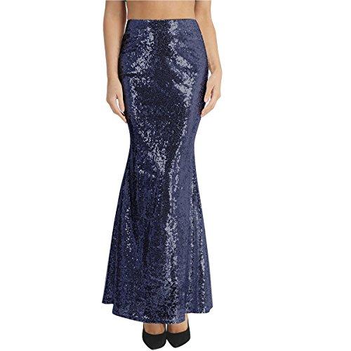 iiniim Falda Lentejuelas Sirena para Mujeres Disfraz de Fiesta Danza Noche Falda Larga Vintage Gótico Disfraces Maxi Falda Brillante Brillo Mujer Cintura Alta Sexy Traje de Cosplay Azul Medium