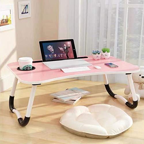 Mesa para ordenador portátil, bandeja para servir el desayuno, soporte para portátil, mesa estable portátil, bandeja para cama con ranura para tazas, mesa multifunción (60 x 40 cm)