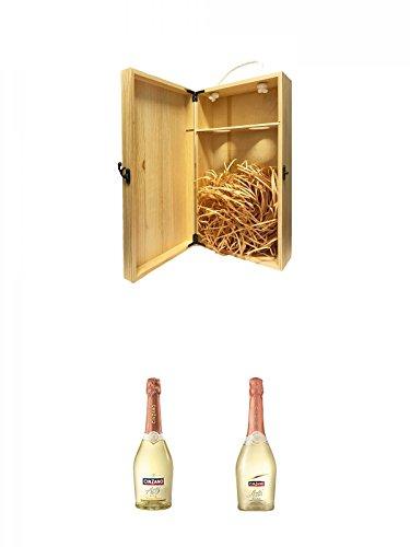 1a Whisky Holzbox für 2 Flaschen mit Hakenverschluss + Asti Spumante 0,75 Liter + Cinzano Asti 0,75 Liter