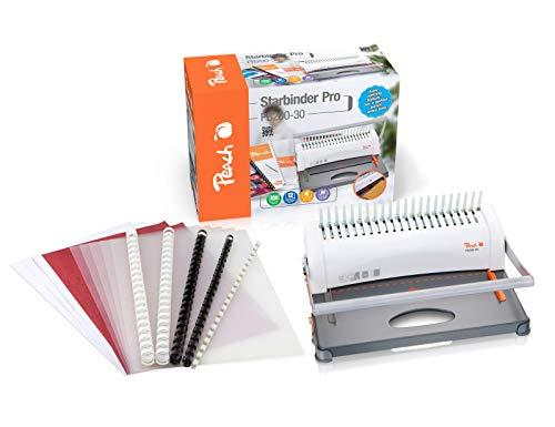 Peach PB200-30A Plastikbindegerät | Star Binder Pro - DIN-A4 | Preis-/Leistungs-Sieger* | bindet 350 Blatt | max. 38 mm Binderücken | 12 Blatt Stanzkapazität | inkl. Starterset