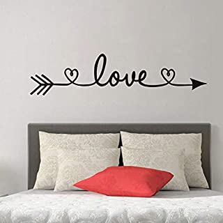WOVTCP Love Arrow Wall Quote Sign Vinyl Decal Sticker Wall Lettering Faith Friends Couple Bedroom Living Family Infinite Love Big Large God Mother
