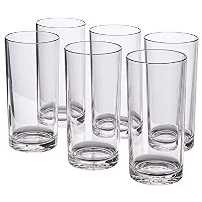 Classic 16-ounce Premium Quality Plastic Water Tumbler   Clear Set of 6