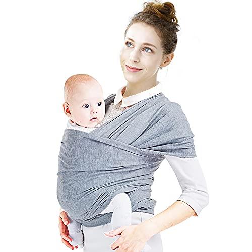 Fascia Porta Bebè, Supporto Schiena Ergonomica Porta Bambino per Neonati unisex e Bimbi fino a 15 kg, Elastica in Cotone Marsupio Bambino a Fascia Facile da Indossare Wrap Carrier