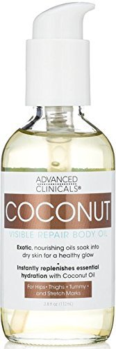Advanced Clinicals Visible Repair Coconut Body Oil for stretch marks, hips, thighs, tummy. 4oz