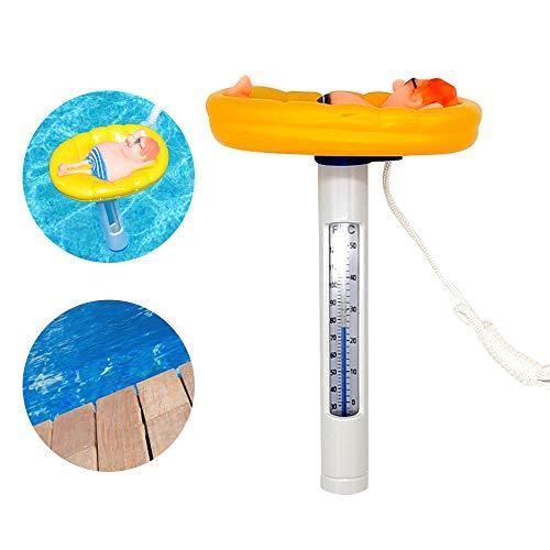 KKmoon Schwimmende Pool Thermometer mit Saite Schwimmbadthermometer ℃/℉ Genaue Temperaturwerte Bruchfest Cartoon Baby-Pool Thermometer Für Outdoor & Indoor Pools Spas Hot Tubs Aquarien & Fischteiche