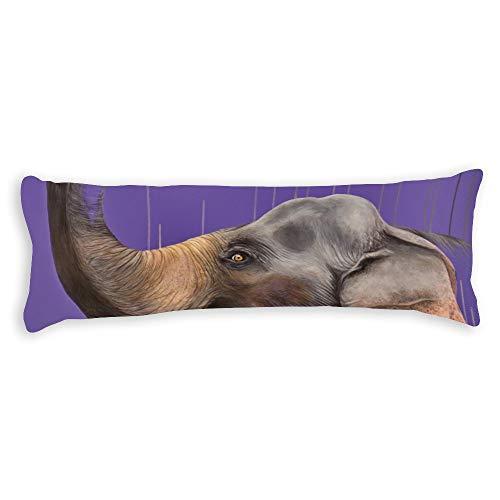 Fhdang Decor Elephant Body Pillow Case Super Doux Coton Lavable en Machine avec Fermeture éclair Maternité Grossesse, Coton, King 5ft (60'')