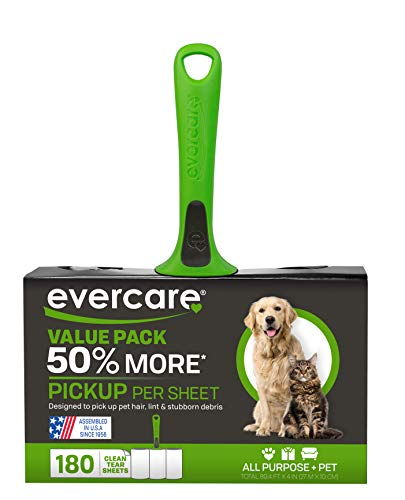 Evercare Pet 50% More Pickup Per Sheet, Lint Roller Combo Pack, 180 Sheets (617132) (Packaging May Vary)