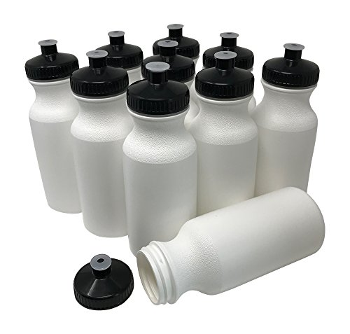 CSBD 20oz Sports Water Bottles, 10 Pack, Reusable No BPA Plastic, Pull Top Leakproof Drink Spout, Blank DIY Customization for Business Branding, Fundraises, or Fitness White Bottle Black Lids