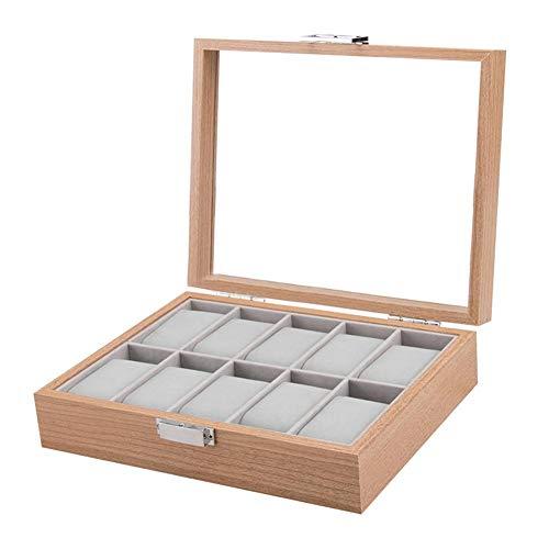 Explea 10 Slot Palisander Uhrenbox Vitrine Sammlung Schmuckschatulle mit transparentem Deckel