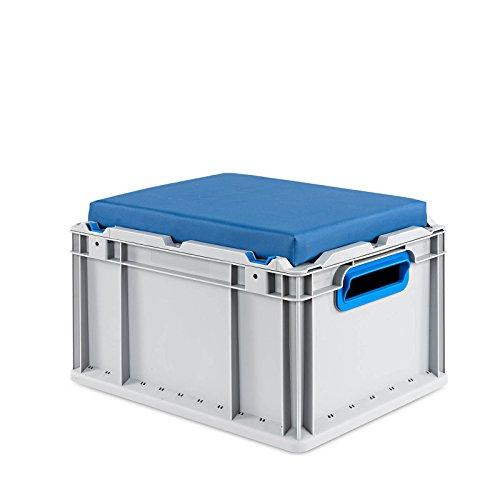 aidB Eurobox NextGen Seat Box, blau, (400x300x265 mm), Griffe offen, Sitzbox mit Stauraum und abnehmbarem Kissen, 1St.