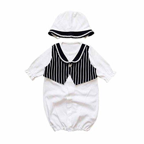 男の子用 春秋素材 日本製 タキシードデザイン 新生児 お宮参り退院時用 お帽子付き ベビードレス2点セット ブラック