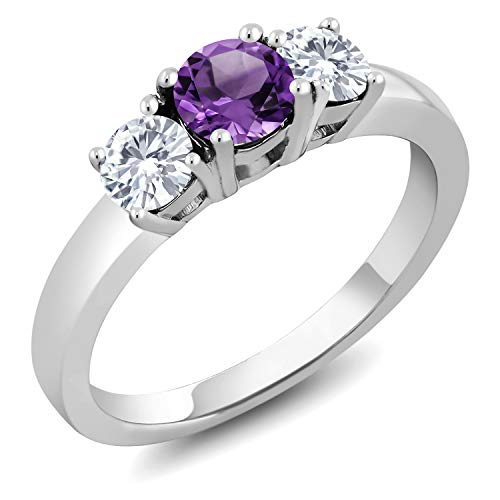 925 Sterling Silver Purple Amethyst and Forever Classic Created Moissanite by Charles & Colvard Women 3-Stone Ring (0.94 Cttw, Available in size 5, 6, 7, 8, 9)