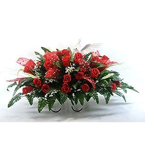 R35 Red Roses Cemetery Flower Arrangement, Headstone Saddle, Grave, Tombstone Arrangement, Cemetery Flowers