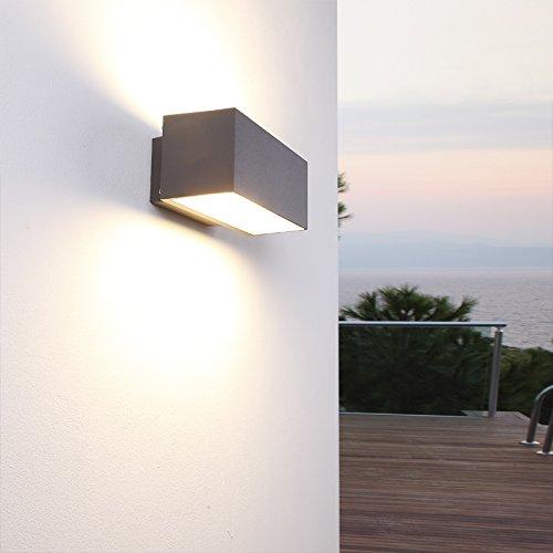 Außenwandleuchte grau eckig - Wandleuchte Wandlampe Außen modern, Aluminium pulverbeschichtet...