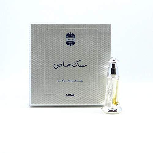 Musk Khas 3ml Unisex Perfume Oil by Ajmal Perfumes - a Regal Pure Concentrated White Musk Fragrance in Gift Box and Metal Ornate Bottle and Silk Musk