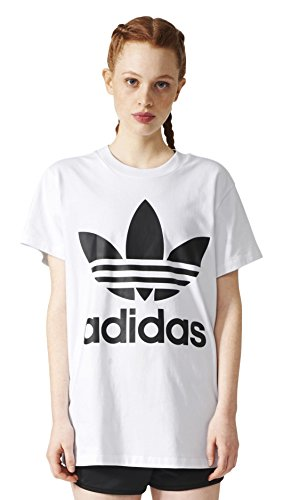 adidas Damen Big Trefoil T-Shirt, White/Black, 34