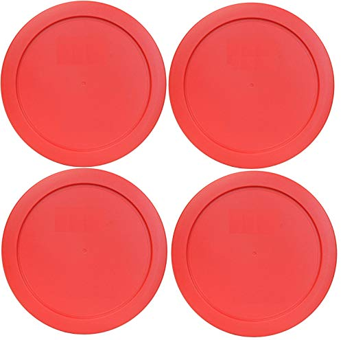 Klareware 2 Cup red Round Plastic Food Storage Replacement Lids Covers for Klareware Anchor Hocking and Pyrex Glass Bowls 4 Pack (Container not Included) (4 Pack)
