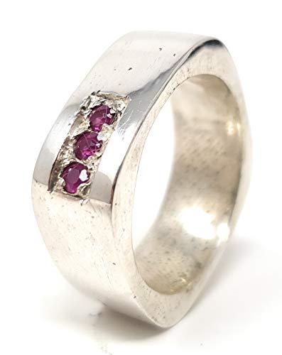 Ring, 3 Rubine, 925er Silber, Gr. 57, Design, Unikat, Handarbeit
