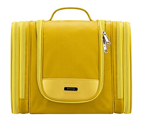 Toiletry Organizer Bright, Yeiotsy Magical Series Hanging Travel Toiletry Bag Cosmetics Organizer (Yellow)