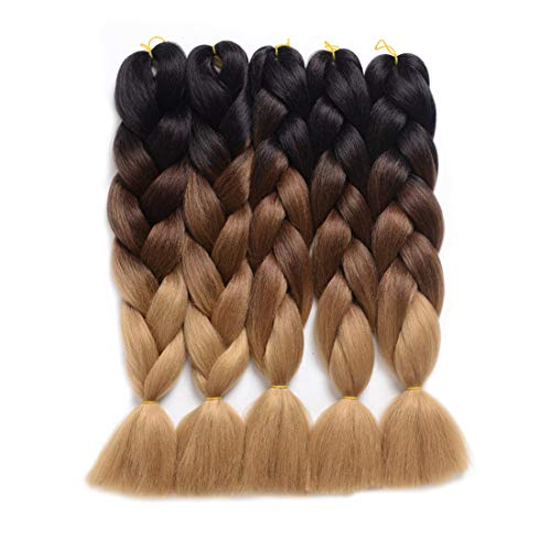 "Ding Dian Ombre Braiding Hair Kanekalon Jumbo Braids Synthetic Braiding Hair 5Pcs/Lot Hair Extension for Twist Braiding Hair (24"" Black-Dark brown-Light brown)"