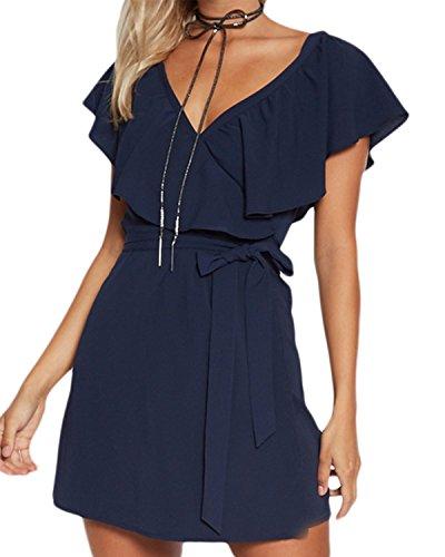 YOINS Kleid Damen Sommer Kurz V-Ausschnitt Schulterfrei Kleider Elegant Strandkleider Minikleid Partykleider