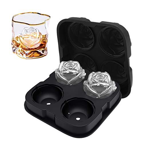 ROTTAY ローズアイスキューブメーカー ローズアイスキューブメーカー 4つの2.5インチのローズ型アイスキューブを作る 簡単に外せるアイスボールメーカー 斬新なドリンクトレイ 冷たい飲み物/ウィスキー/カクテル/自家製用