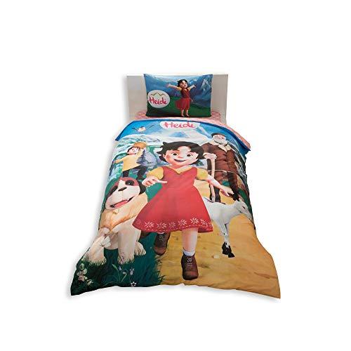 Heidi Lizenzprodukt Bettbezug-Set, 100% Baumwolle Ranforce Stoff Single Größe 3-teilig Bettwäsche-Set
