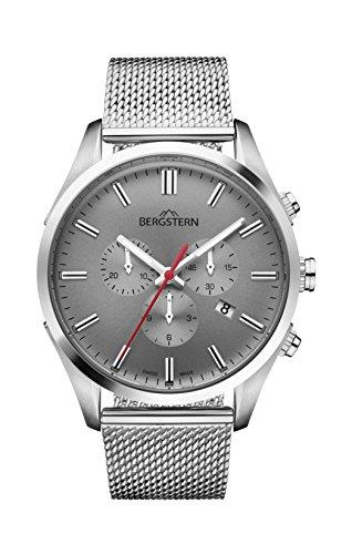 Orologio uomo bergstern con cinturino argento e schermo in grigio b050g238
