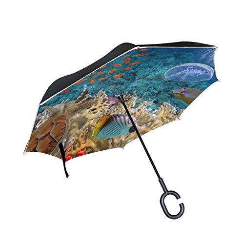 XiangHeFu double layer Inverted Reverse Umbrellas Ocean fishes Sea Turle pieghevole antivento protezione UV Big dritto per auto con manico a C