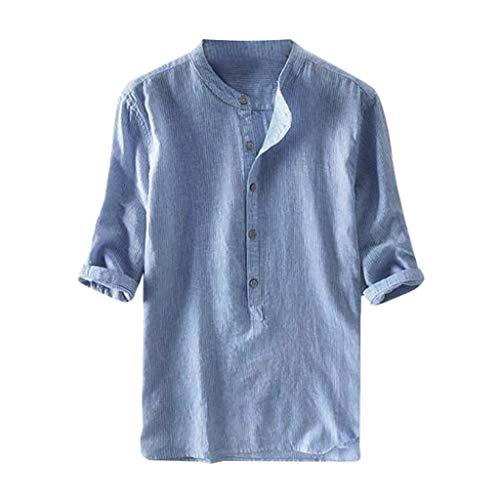 Camicia Mezza Manica in Lino Tops Slim Fit Tinta Unita Cardigan Vintage Etnico Shirt Maniche Corte Casuale Camicia di Modo da Uomo Estivo