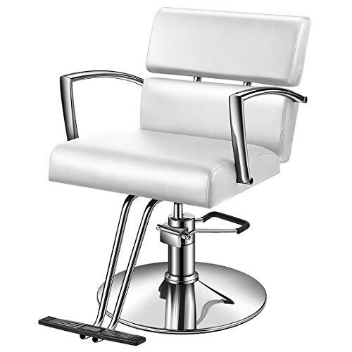 Baasha White Salon Chairs for Hair Stylist with Hydraulic Pump, Hair Styling Chair Beauty Hair Salon Chair, White Styling Chair, Hydraulic Styling Chair, Salon Chair White
