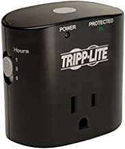 Tripp Lite 1 Outlet Portable Surge Protector Power Strip, Direct Plug in, Timer, & $5,000 Insurance (SK10TG) Black