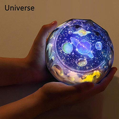 Zshhy Starry Sky Night Light Planet Magic Projector Earth Universe LED Lamp Colorful Rotate Flashing Star Kids Baby Christmas Gift Size: 5.1 x 4.7 inches-Not_Rotate_Universe