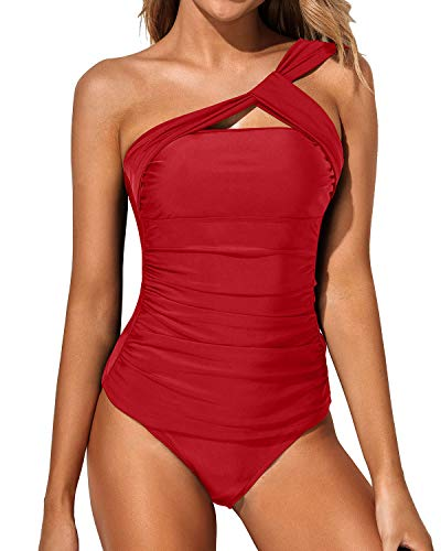 Tempt Me Women Red Tankini Ruched One Shoulder Tummy Control Top with Shorts Two Piece Swimsuits L