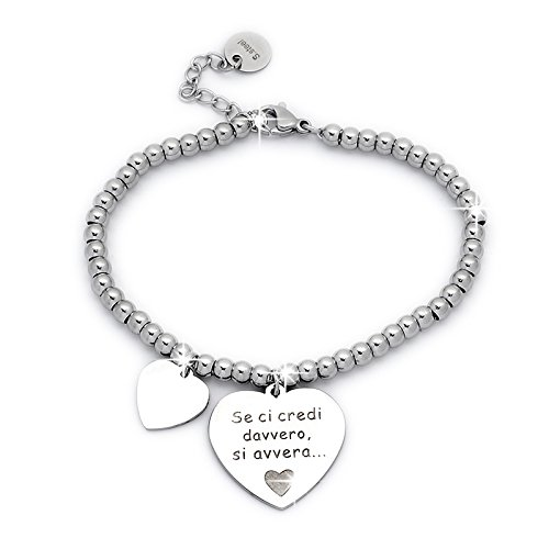 Beloved Braccialetto da donna, bracciale in acciaio emozionale - frasi, pensieri, parole con charms - ciondolo pendente - misura regolabile - incisione - argento (MOD 11)