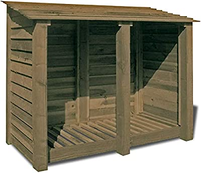 Cottesmore High Wooden Log Store/Garden Storage - Heavy Duty With Pressure Treated Wood (4ft Solid Sides, Rustic Brown)